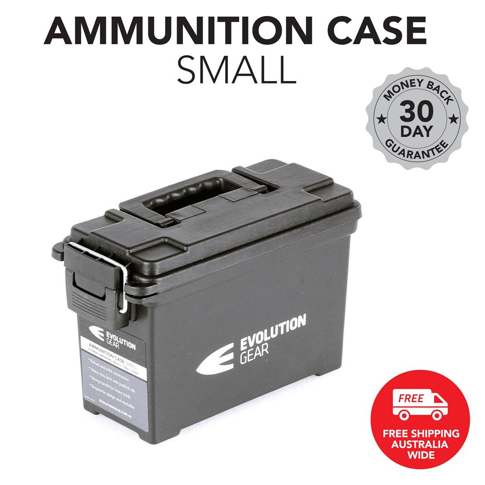 Small Ammunition Box Weatherproof Ammo Case / Dry Box - Black
