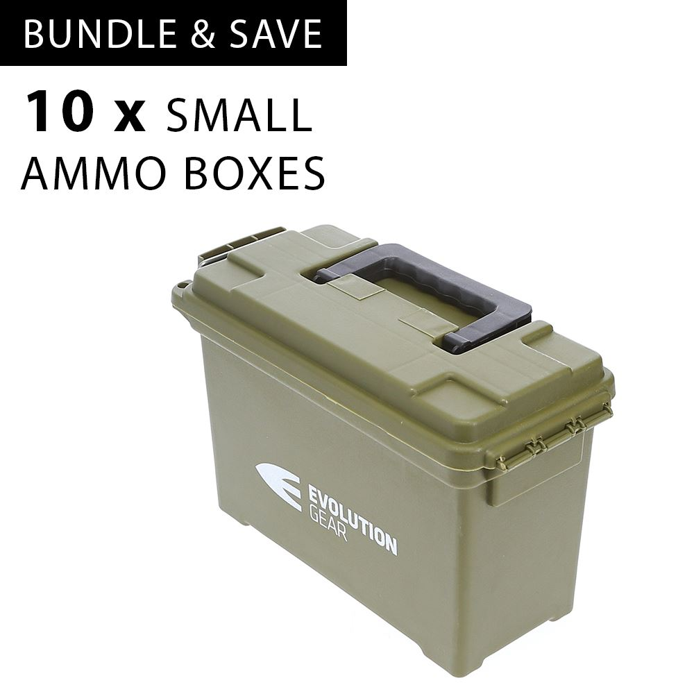 10 x Small Ammunition Case Weatherproof Ammo Box / Dry Box - Olive Drab
