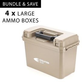 4 x Large Ammunition Case Weatherproof Ammo Box / Dry Box in Desert Tan