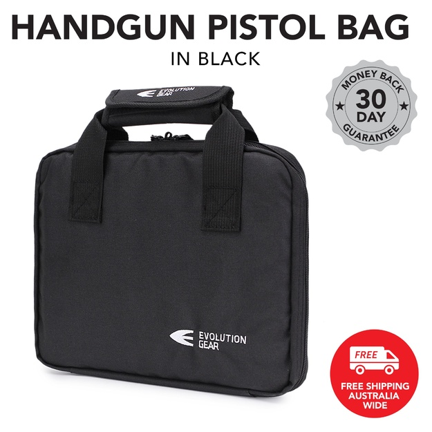 Handgun Pistol Bag Soft Case with 5 Magazine Slots - Black